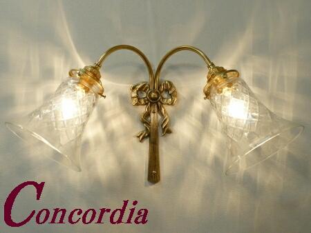 【ブラケットライト 2灯 WF340/2+421/CUT】 真鍮製 ガラス アンティーク風 壁照明 レトロ おしゃれ 洋館 寝室 廊下 LED電球使用可