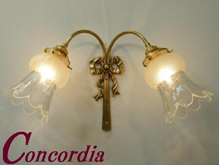 【ブラケットライト 2灯 WF340/2+510/SAT】 真鍮 ガラスシェード アンティーク調 ブラケット照明 デザイン かわいい 高級 応接室 廊下 LED電球使用可