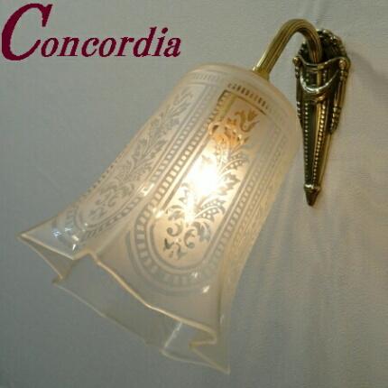 【ブラケットライト WF574+411/SAT】 真鍮製 ガラス アンティーク風 壁照明 デザイン かわいい 本格的 鏡 洗面所 LED電球使用可