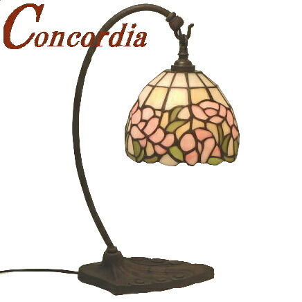 テーブルランプ TB118/Z+573/TIF アンティーク調 真鍮製 ブロンズ色仕上げ ステンドグラスのランプシェード バラのデザイン 安定性あり ベッドサイドも可 暖かな光