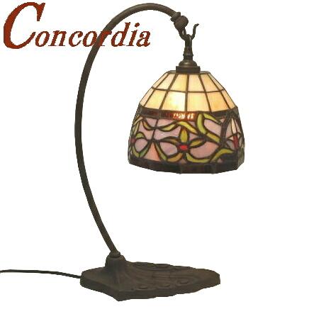 テーブルランプ TB118/Z+575/TIF アンティーク調 真鍮製 ブロンズ色仕上げ ステンドグラスのランプシェード 安定性あり ベッドサイドも可 暖かな光