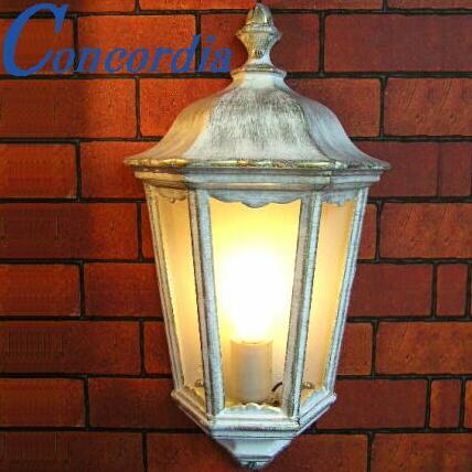 玄関照明 EW022/WB 屋外照明 エクステリアライト ポーチライト 輸入 イタリア アルミ鋳造 ガラス アンティーク風 レトロ トラディショナル フレンチシャビー