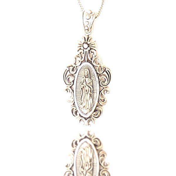 聖母マリア像 不思議のメダイ ネックレス プレート シンプル シルバー925 喜平 チェーン ペンダント メンズ レディース