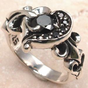 ハート ブラックストーン リング 指輪 シルバーリング シルバー925 シルバー 925 メンズ 彼氏 レディース 彼女 //【市場】【送料無料】←DM便