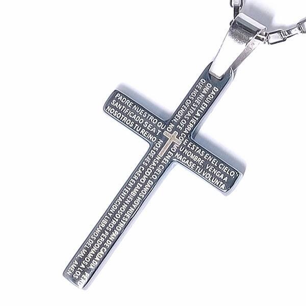 ネックレス ステンレス メンズ シンプル チェーン クロス 聖書 ブルー //【市場】