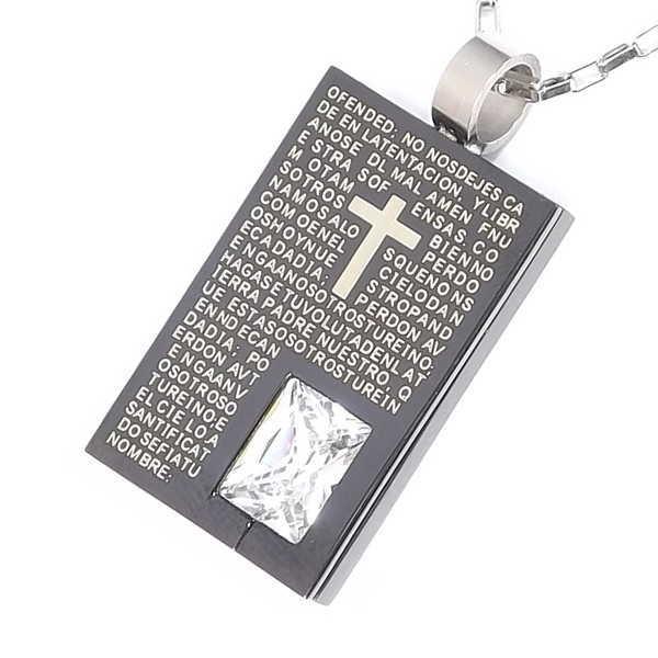 ネックレス プレート ステンレス メンズ シンプル チェーン 一粒石 聖書メッセージ ブラック 彼氏 男性用