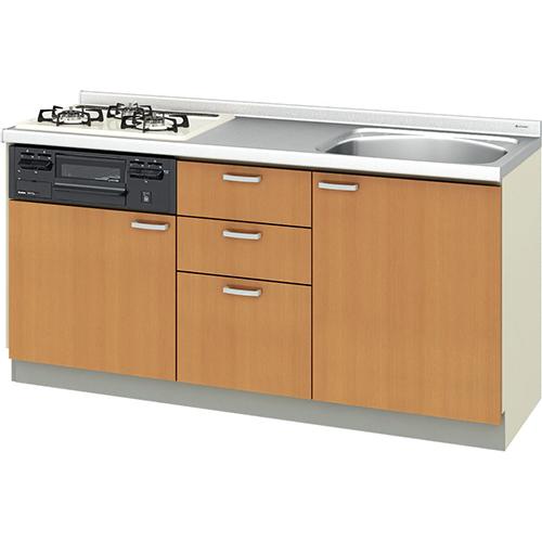メーカー直送 リクシル 取り替えキッチン パッとりくん GKシリーズ フロアユニット [GK*-U-165XNBC**] 間口165cm ラウンド56シンク 受注生産品