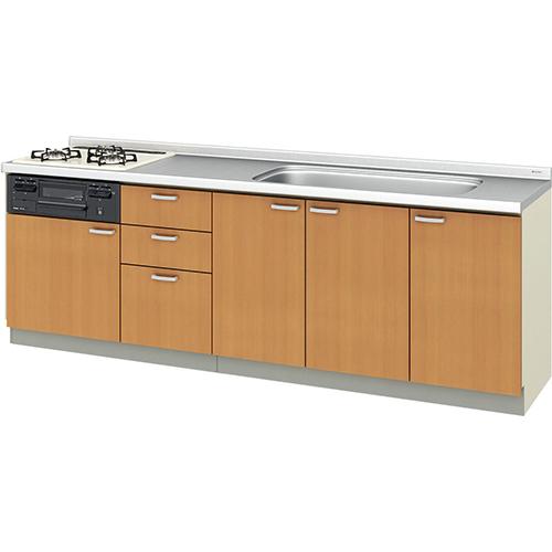 メーカー直送 リクシル 取り替えキッチン パッとりくん GKシリーズ フロアユニット [GK*-U-240SNBC**] 間口240cm ラウンド68シンク 受注生産品