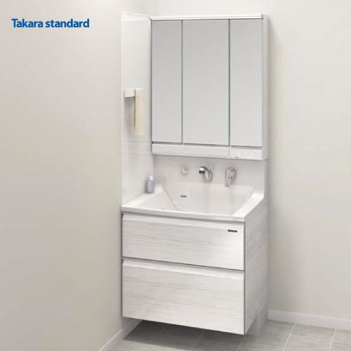 タカラスタンダード 洗面化粧台プラン エリーナ ミラー+洗面下台+エンドカバー+オプション くもり止めコーティング 間口75cm 受注品