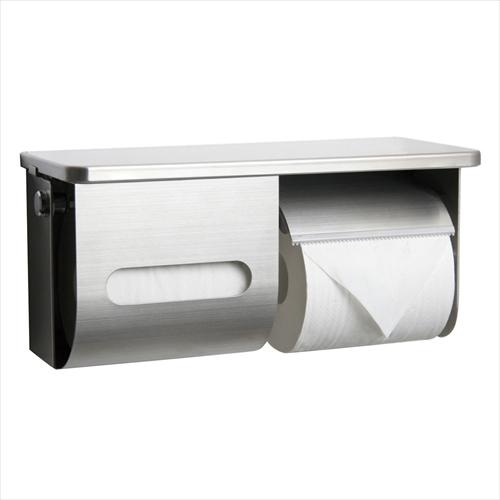 リラインス ペーパー盗難防止鍵付棚付横2連ワンハンドペーパーホルダー [R3835R-K] RELIANCE le bain