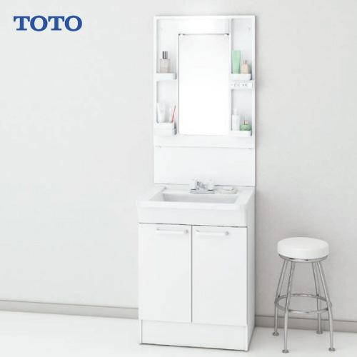 メーカー直送 TOTO Bシリーズ 洗面化粧台セット 一面鏡 + 下台 [LMBA060B1GDC1G+LDBA060BAGCS1A] 600mm 2ハンドル混合水栓 LEDランプ エコミラーあり