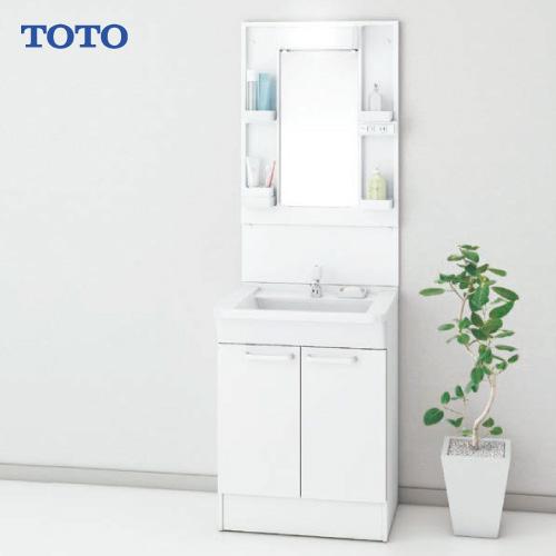 メーカー直送 TOTO Bシリーズ 洗面化粧台セット 一面鏡 + 下台 [LMBA060B1GDG1G+LDBA060BAGDS1A] 600mm 単水栓 LEDランプ エコミラーなし