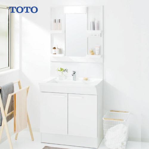 メーカー直送 TOTO Bシリーズ 洗面化粧台セット 一面鏡 + 下台 [LMBA075B1GDG1G+LDBA075BAGMN1A] 750mm エコシングル混合水栓 LEDランプ エコミラーなし