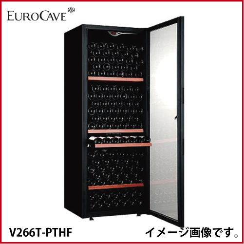 メーカー直送 送料無料 ユーロカーブ [V266T-PTHF] ワインセラー 本体カラー:黒色 扉:ガラス 収容本数:202本 容量:447 L