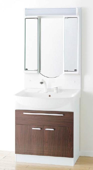 メーカー直送 アサヒ衛陶 洗面化粧台 [LEA003*] シャイニーカベール 間口750mm オーバーストッカータイプ