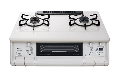 送料無料 パロマ [PA-360WHA-L(13A)] テーブルコンロ 13A 都市ガス 左強火力 エブリシェフシリーズ やさしい白 水なし両面焼グリル 温度調節機能付き 煮物機能 幅59cmプラチナカラートップ ナチュラルホワイト