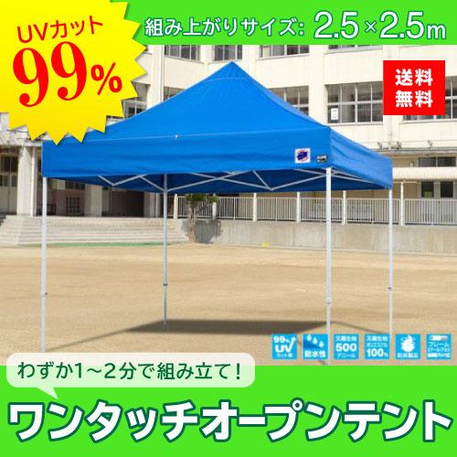 メーカー直送 E-ZUP イージーアップ イージーアップテント 組み立てテント デラックス(スチールタイプ) [DX25-17BL] 2.5m×2.5m 天幕色:青 ブルー 防水 防炎 紫外線カット99%