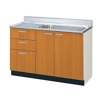 メーカー直送品 LIXIL リクシル セクショナルキッチン 木製キャビネット GSシリーズ 流し台(点検口付)間口120cm[GS(M・E)-S-120MXT(R・L)]3段引出し