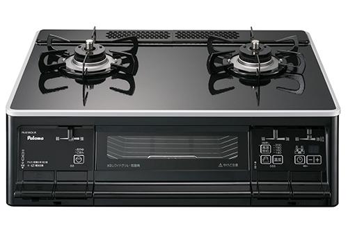 送料無料 パロマ [PA-61WCK-L(LP)] テーブルコンロ LPG プロパンガス 左強火力 エスシリーズ 水なし両面焼グリル 温度調節機能付き ブラックフェイス 幅59cmタイプ ハイパーガラスコートトップ
