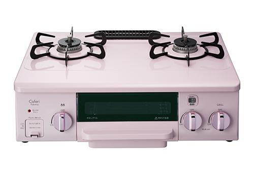 パロマ [PA-N70BP-L(LP)] テーブルコンロ LPG プロパンガス 左強火力 カフェリ 水なし片面焼グリル 幅56cmホーロートップ ローズピンク Paloma