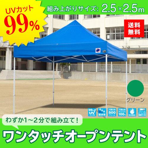 メーカー直送 E-ZUP イージーアップ イージーアップテント 組み立てテント デラックス(スチールタイプ) [DX25-17GR] 2.5m×2.5m 天幕色:緑 グリーン 防水 防炎 紫外線カット99%