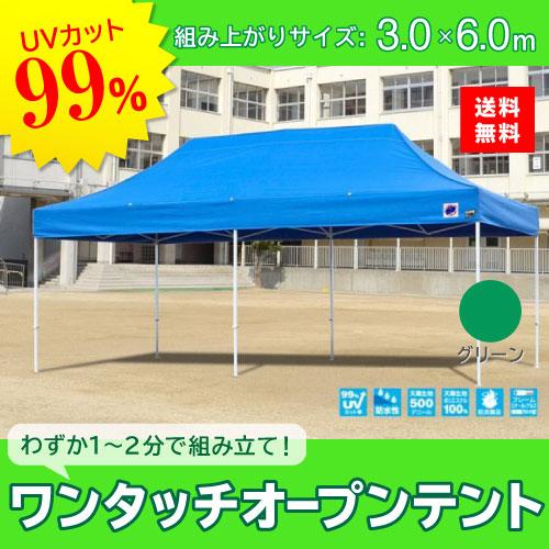 メーカー直送 E-ZUP イージーアップ イージーアップテント 組み立てテント デラックス(スチールタイプ) [DX60-17GR] 3.0m×6.0m 天幕色:緑 グリーン 防水 防炎 紫外線カット99%