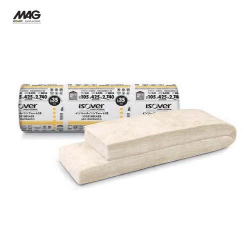 メーカー直送 MAG イゾベール・コンフォート 寒冷地・高断熱住宅向けグラスウール [IC35105L425] 厚さ×幅×長さ(mm):105×425×2740 入数6枚