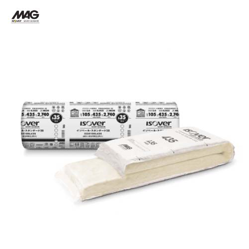 メーカー直送 MAG イゾベール・スタンダード 防湿層付き高性能グラスウール [IS35105J435] 厚さ×幅×長さ(mm):105×435×2880 入数6枚