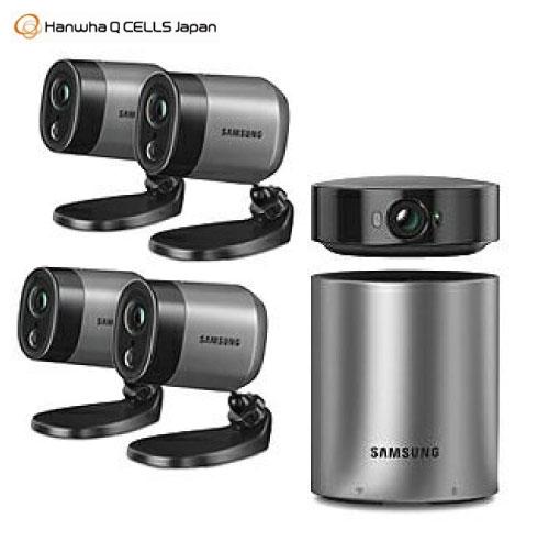 数量限定特価品・在庫限りハンファ Wi-Fiワイヤレス防犯カメラ ホームセキュリティカメラ [SmartCam A1] ステーションカメラ1台 アウトドア用電池式カメラ4台 ハブ1台 あす楽