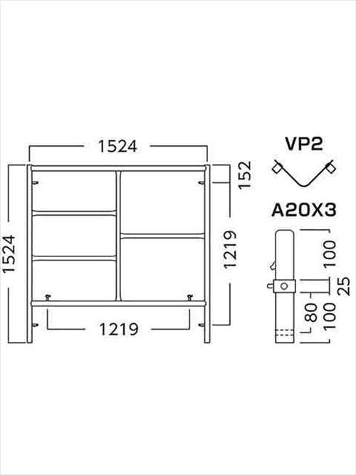 メーカー直送【法人様限定】 アルインコ(ALINCO)高所作業関連 ローリングタワー(移動式足場)移動式足場建枠ピン付 [A1515AX3]  送料別途見積り