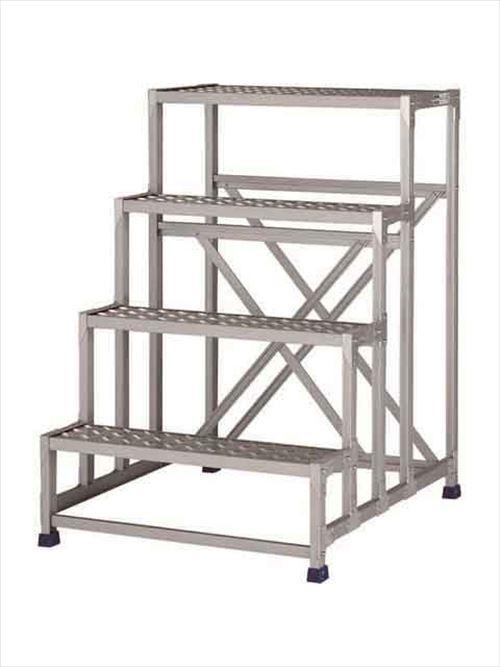メーカー直送【法人様限定】 アルインコ(ALINCO)作業台 ステンレス金具仕様作業台(天板縞板タイプ)4段天板高さ1200mm [CMT-4128S]  送料別途見積り