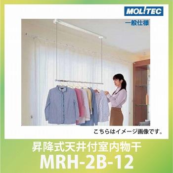 メーカー直送 室内物干 モリテックスチール 昇降式天井付室内物干 ルームハンガー シングルポールタイプ 面付タイプ [MRH-2B-12]