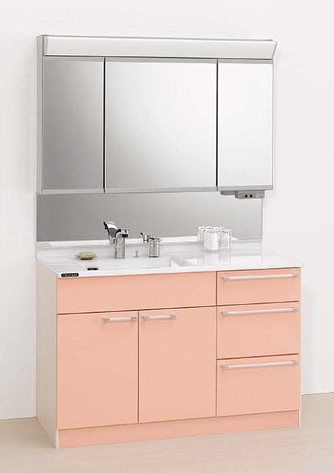 メーカー直送 クリナップ ティアリス 洗面化粧台 間口120cm ビテラスミラー1面鏡 ダブルLED 下台(オープンタイプ) 一般地用 人工大理石カウンター