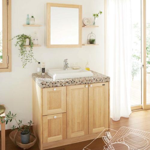 メーカー直送品 送料別途見積もり 洗面化粧台 ウッドワン 無垢の木の洗面化粧台 [NZ50-945] 間口945mm 片引出仕様 タイルカウンター WOODONE