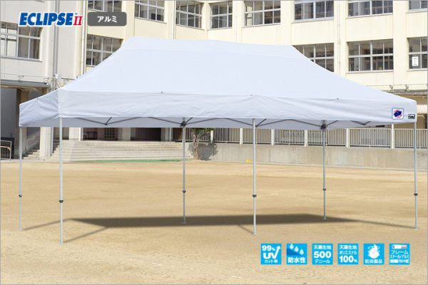 メーカー直送 E-ZUP イージーアップ イージーアップテント 組み立てテント デラックス(アルミタイプ) [DXA60-17GR] 3.0m×6.0m 天幕色:緑 グリーン 防水 防炎 紫外線カット99%