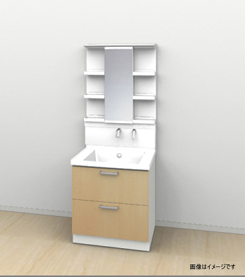メーカー直送 送料無料 洗面化粧台 TOTO サクア [LMWB075A1GLC2G-LDSWB075BCGEN1A] 間口750mmLED照明 2段引き出しタイプ