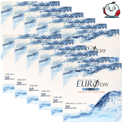 【送料無料!12箱】含水率38% 終売のピュアナチュラルワンデーと同じレンズです! ユーロワンデー EURO 1day ユーロ・ワンデー 1日使い捨てコンタクトレンズ 30枚入 12箱