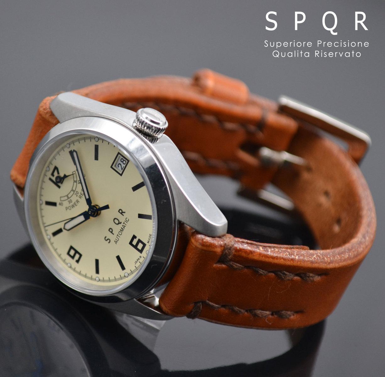SPQR Ventuno pr (アイボリー/スケルトン)× SOMESサドルレザーバンド 8色から選択 手巻き 自動巻き オートマチック 国産 日本製 スポール