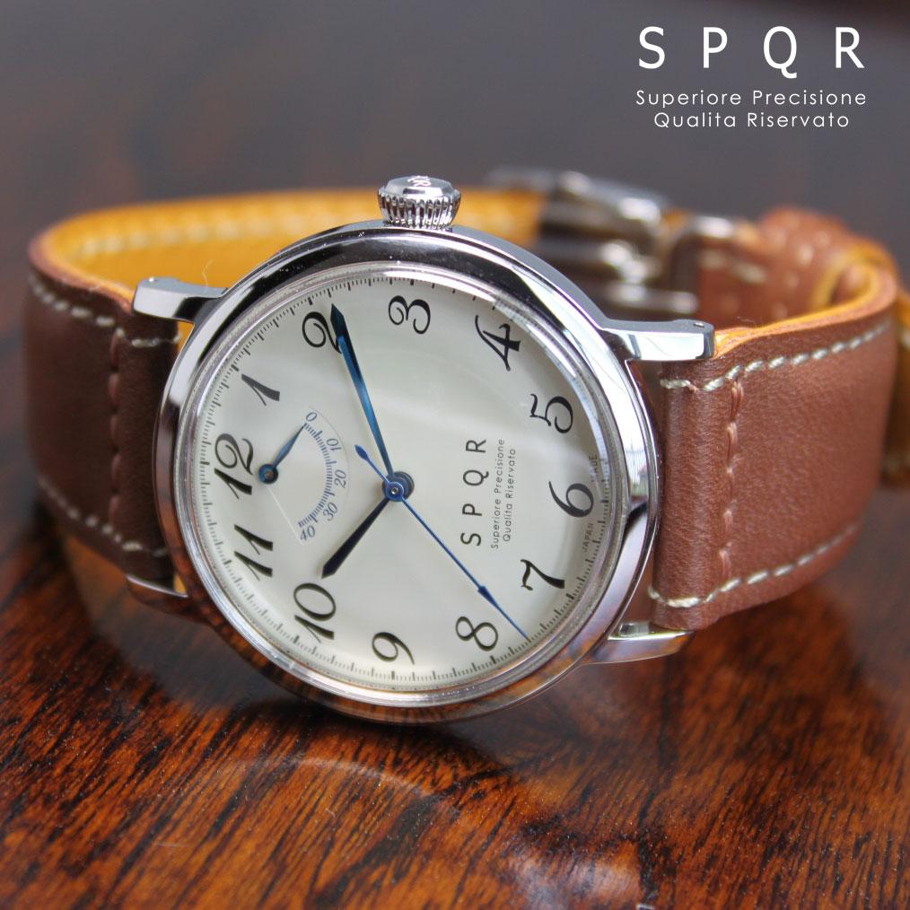 THE SPQR 手巻パワーリザーブ×最高級フランス製カーフレザーバンド 手巻き ウォッチ 日本製 国産時計 腕時計 機械式