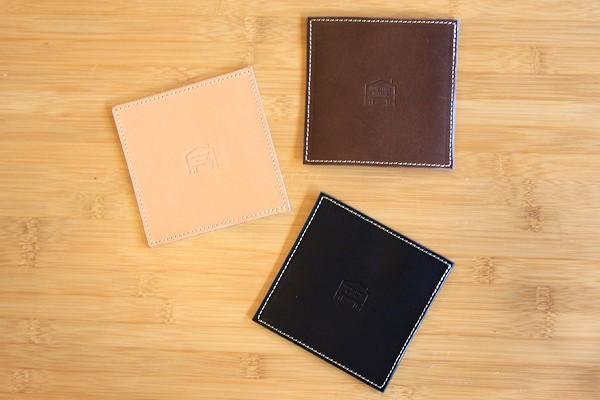 COOK&DINE HAYAMAオリジナル! ブッテーロレザー オリジナルコースター4枚セット【2セット・8枚までメール便OK】