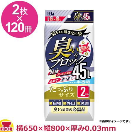 HHJ 臭いブロック袋 45L 白半透明 厚0.03mm 2枚×120冊 AB44(送料無料 代引不可)