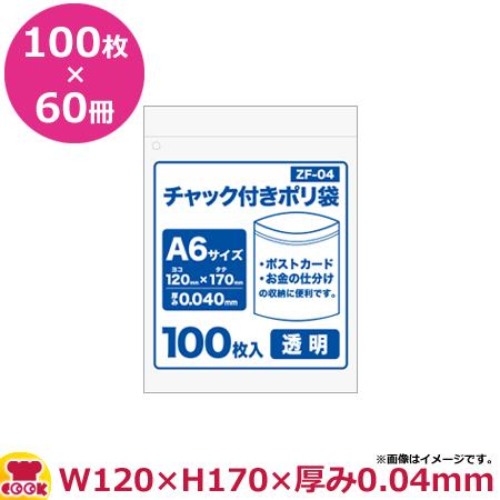 チャック付ポリ袋A6サイズ 100枚 0.040mm厚 透明 60冊入 120×170 ZF-04(送料無料 代引不可)