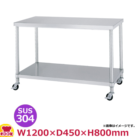 シンコー 作業台(キャスター付) SUS304 WBNC-12045 ベタ棚1200×450×800(送料無料、代引不可)