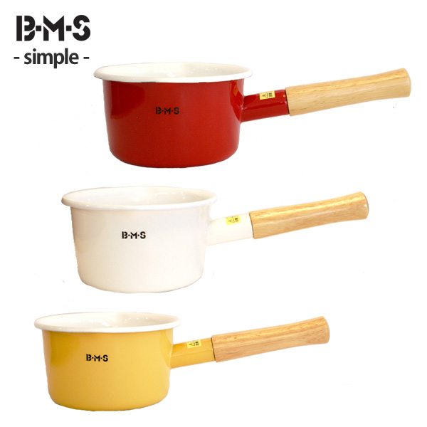 Milk BMS (beams) enameled Pan 14 cm ( 1. 2 L ) (green yellow red white) ◆ kitchen toy / one hand pot / enameled pot / enameled pot / green / yellow / red / white / calibrating / hook with / wooden handle / baby food [20% off] / 5P13oct13_b