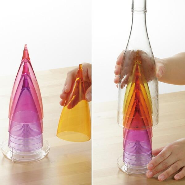 グラスファイブ シャンパングラス 5客セット プラスチック 組立式