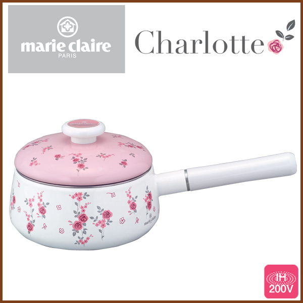 Marie Claire Charlotte 18 cm ( 1. 8 L ) enameled saucepan ◆ IH response / kitchen goods / kitchen supplies / with 蓋(フタ) / one hand pot / enameled pot / enameled pot / pink / rose pattern / floral