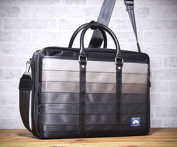 【選べるノベルティ付】 クールキャットオリジナル シートベルト 3WAYビジネスバッグ (カラー:グレー)