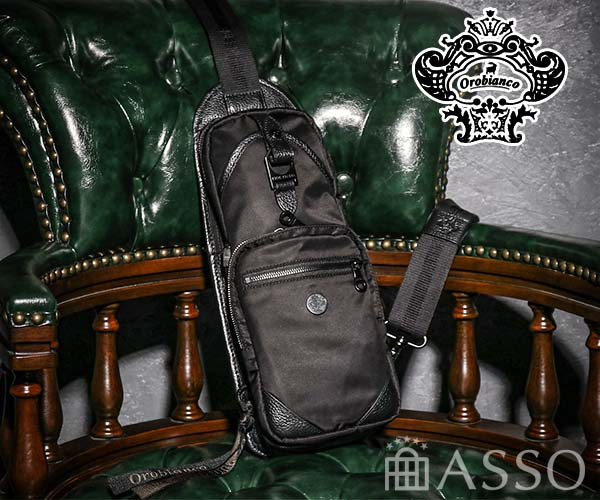 【選べるノベルティ付】 Orobianco オロビアンコ ANNIBALE-F ALL BLACK ワンショルダーバッグ(カラー:ブラック)92134
