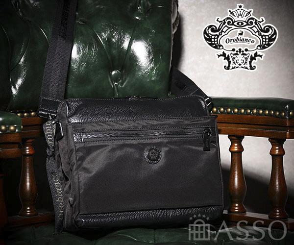 新作【選べるノベルティ付】 Orobianco オロビアンコ SARANGINO-G ALL BLACK ショルダーバッグ (カラー:ブラック)