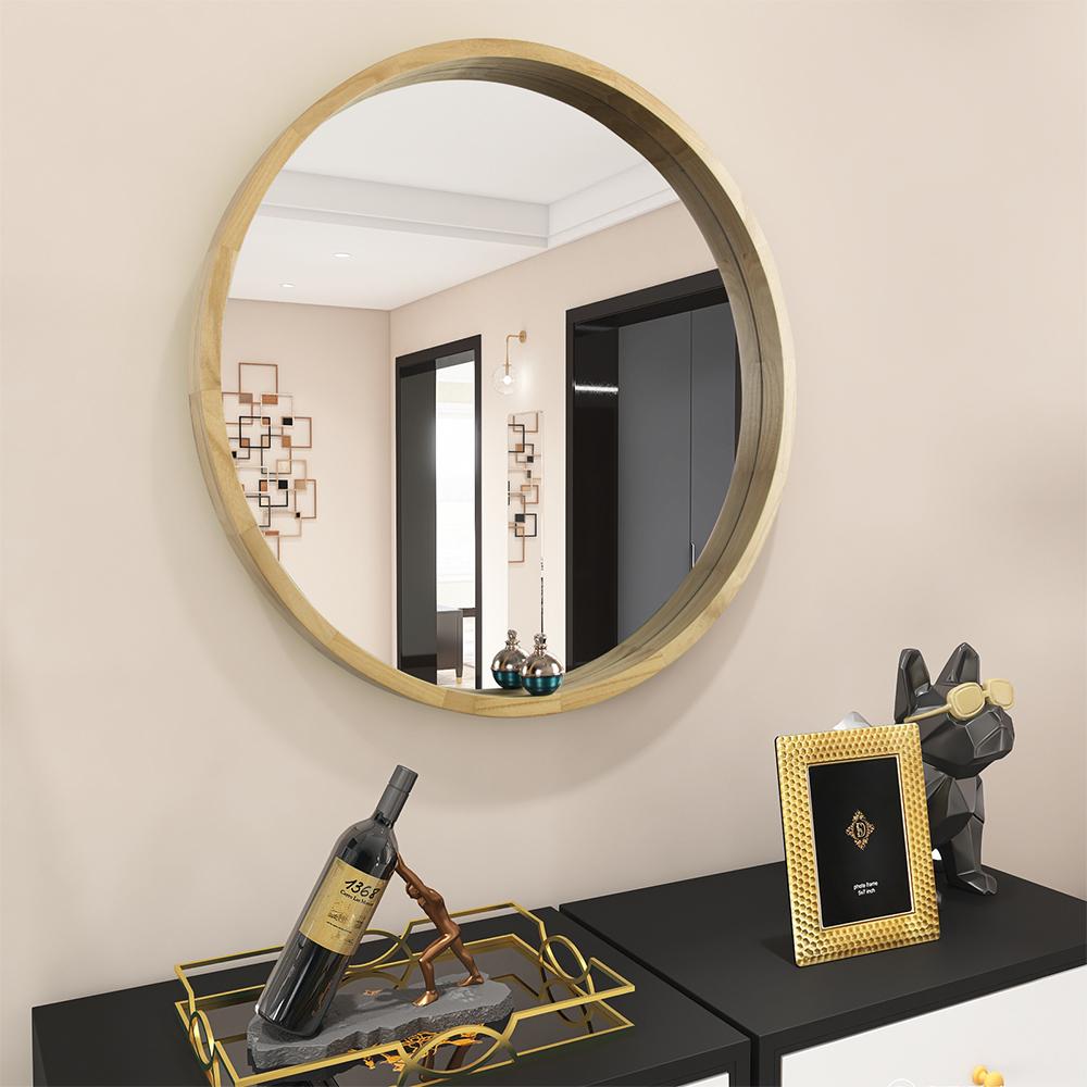 25+26鏡 壁掛け鏡 壁掛けミラー 天然木フレーム 丸型ミラー お買い得 丸い姿見 ウォールミラー 値引き 鏡 インテリア 洗面 化粧 軽量 モダン 直径60cm リビング 和室 バスルーム ナチュラルウード 玄関 円形 トイレ HD鏡面 おしゃれ